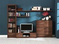 meble drewniane i telewizor